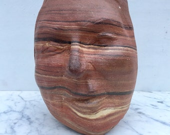 Marbled Face Cup Vase Vessel Head Sculpture Ikebana Pot Ceramic Art