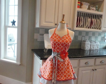 Tangerine Time - READY TO SHIP ~ Full Women's Apron ~ Tangerine/Gray ~ Sadie Style ~ 4RetroSisters