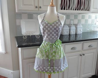 Lemon Lime  - READY TO SHIP -  Alivia Style  -  Women's Apron ~ 4RetroAprons