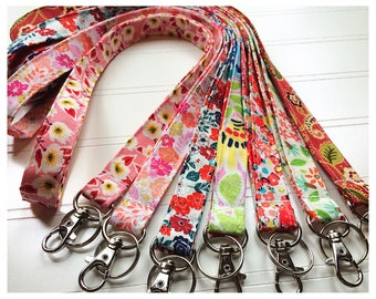Lanyard, Fabric Lanyard, ID Badge Holder, Key Holder - Choose your design [1-8]