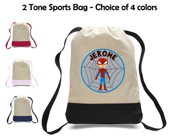 Personalized Spiderman Super Hero Two-Tone Canvas Sports Bag Backpack - Great for School, Preschool, Camp, Sports, Activities & More!