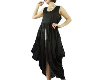 Butterfly - Boho Chic Funky Black Light Cotton Lawn Side Drape Long Tanktop Tunic