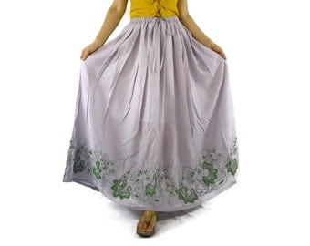 Boho Funky Chic Casual Pale Purple  Light Cotton Skirt With Lining And Green Floral Embroidered Hem Freesize Skirt Fit From Size 10 To 2X