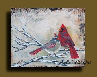 Cardinal couple wall art canvas artwork print partners 20x16 10x8  14x11 inches large statement piece accent signs from heaven sacred hellos