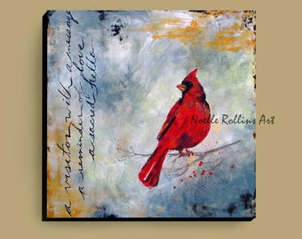 Cardinal Messenger wall art canvas artwork print partners large statement piece accent signs from heaven sacred hellos 12x12 16x16 24x24