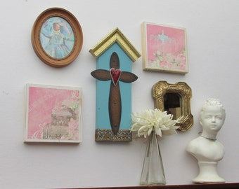 home decor - a 5 piece wall collage - Free Spirit - colorful flair