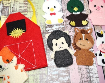 Farm Animal Finger Puppets | Barn Storage Bag | Barnyard | Busy Bag | Old McDonald | Eco Felt Finger Puppets | Set of 8 | Ready To Ship