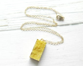 Yellow Druzy Necklace on 14K Gold, Rectangle Druzy Necklace, Raw Crystal Necklace, Druzy Jewelry, Bright Yellow, Layering Necklace, Summer