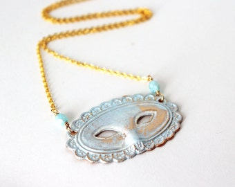 Mask Necklace, Theater Mask Necklace, Masquerade Necklace, Mardi Gras Necklace, Pale Blue Mask Necklace - Pale Blue Mask Necklace