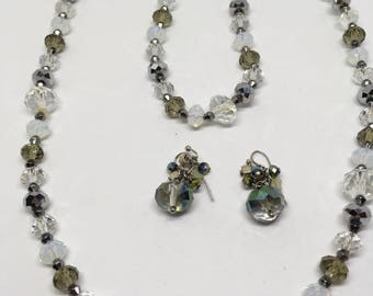 Glass Bead Necklace and Earring Set