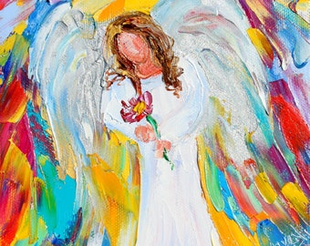 Angel of Spring painting original oil 6x6 palette knife impressionism on canvas fine art by Karen Tarlton