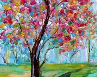 Spring Tree of Life abstract painting original oil on canvas palette knife 12x16 impressionism fine art by Karen Tarlton