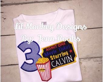 Drive In Movies Birthday Top: Movie- Birthday- Popcorn- Movie Birthday Shirt