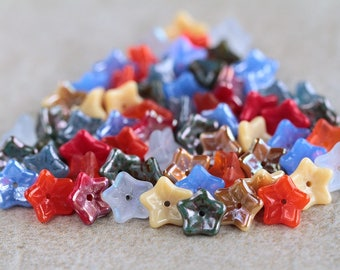 Orange, Cornflower & Beige Glass flower bead mix, Czech glass flower beads, 5-petal Trumpet Flower beads, 6x9mm (66pcs) NEW