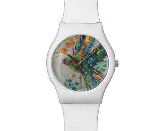 The Color of Peace II Colorful Dove Watch in White, Black or Both Colors