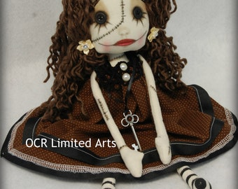 Gothic doll SIMONA Rag Goth Tattered spooky cute emo collectible home decor Stitches Broken china gift Handmade Art Doll OOAK