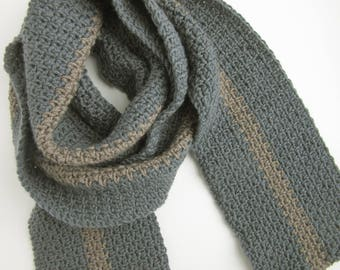 Mens Gray Winter Scarf - Warm Knitted Scarves - Long Grey Scarf