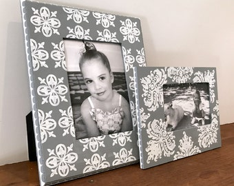 Hand Painted Picture Frame Grouping, Gray and White, Custom Painted Frames, Family Photo Frames, Wedding Photo Frames, Tabletop Frames Duo