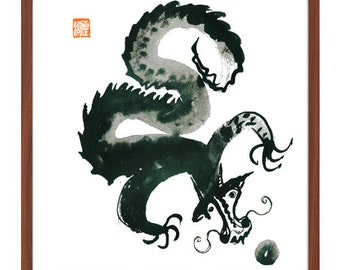 Dragon, Chinese Zodiac Year of the Dragon, Zen Sumi e Ink Original Painting, Japanese Art, zen decor, buddhist art, scroll art,  tao