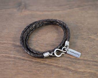 Namaste - Inspirational Wrap Bracelet - 925 Sterling Silver & Braided Leather