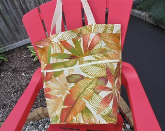 Extra Large Beach Bag, Family Size Tote Bag, Summer Theme, Palm Trees
