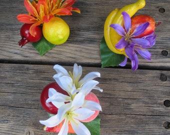 3 - Tropical fruits hair Clips - Carmen Miranda Style - Burlesque - Retro - Pinup -