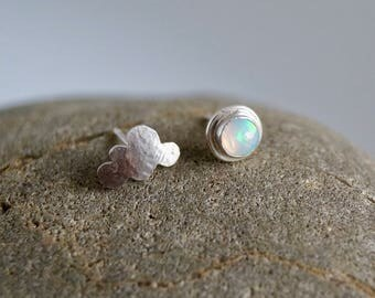 Wandering Cloud - Mismatched Silver Stud Earrings with Opal