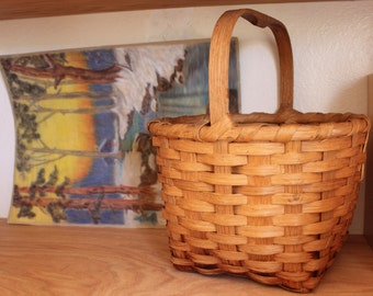 Vintage Split Wood Basket photo with Wood Carved Handle 11l x 12w x 14h inches