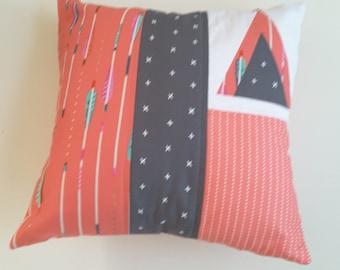 Coral/grey teepee cushion, nursery pillow, arrow teepee theme