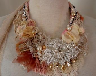 wedding shabby chic necklace, gypsy princess beaded necklace, boho beaded neckpiece,  textile necklace, beaded bib necklace