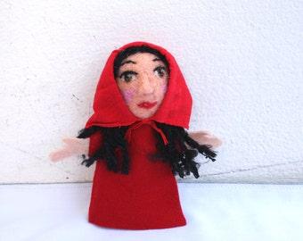 Red Riding Hood, handmade, handfelted finger puppet