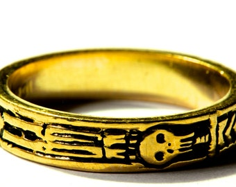 Georgian Skeleton Ring solid gold  Memento Mori Jewelry Blue Bayer Design NYC
