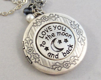 Love you to the moon and back,Moon Locket,Moon Necklace,Love you necklace,Moon Jewelry,To the moon jewlery,to the moon,love you jewlery