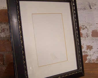 Hand Painted Black & Gold Chalk Painted Picture Frame, 8 x 10, Regency Style