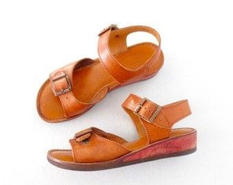 SALE 70s Wedge Sandals * Boho Heels * Vintage 1970s Peep Toe Wedges * size 5.5 / 36