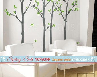 Tree Wall Decal, Forest Trees and Birds Wall Decal, Birds Trees Decal, Winter Trees Nature Vinyl Wall Decal, Winter Trees Home Decor Sticker