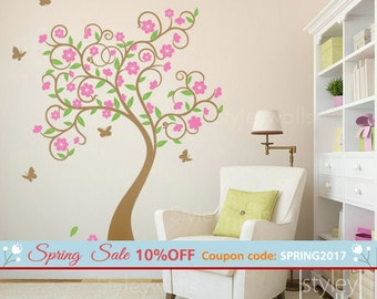 Cherry Blossom Tree Wall Decal, Tree Wall Decal Sticker, Flowers Tree Wall Decal, Curly Flower Tree and Butterflies Kids Children Nursery