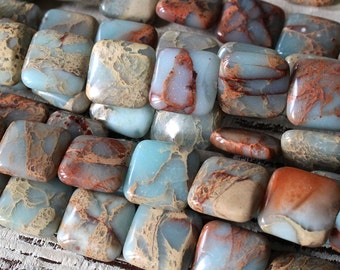 African Opal Beads 10mm Tile Beads - Jewelry Making Supply - Square Gemstone Beads - Choose Amount