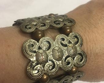 Ornate Silvertone Slide On Bracelet