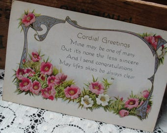 Vintage Cordial Greetings, Congratulations Postcard, Early 1900's Ephemera, Unwritten, Embossed Floral