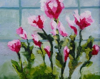 Modern Impressionist Original Impressionist Still Life Oil Painting of Tulips by Rebecca Croft