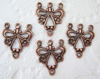 4 - Antiqued copper strand connectors -ZC132