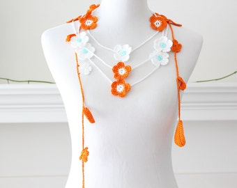 Crochet White, Pumpkin Lariat, Scarf, Necklace, Scarflette