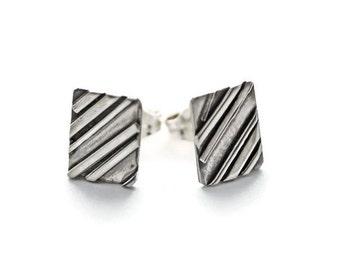 Silver Rectangle Stud Earrings, Small Stud Earrings, Minimalist Jewelry, Silver Stud Earrings, Tiny Stud Earrings, Silver Studs