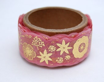 Flower gold washi tape 20mm x 5M