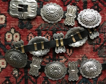 Vintage sterling silver Native American concho belt / Stamped and repousse work / Navajo silver concho belt / 414 grams