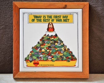 Tile Trivet/ Cathy Guisewite Trivet Decor/First Day of Your Diet/Diet Quote/Hot Dish Trivet/Wall Decor/Kitchen Decor/1982