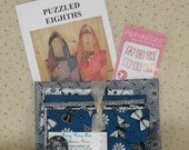 Quilted Tote Kit Using Puzzled Eighths Pattern by Sue Colley and Ink Blossom II Fabrics from RJR Fabrics, Teal, Black, Gray, White, Grey