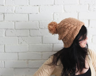 Soft wool Beige pom pom beanie / Cable Knit Womens Winter Hat
