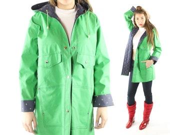 Vintage 80s Vinyl Raincoat Strawberry Lining Lime Green Hooded 1980s Medium M Waterproof Jacket Spring Fashion